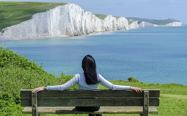 休日、休暇、海、女性、ベンチ
