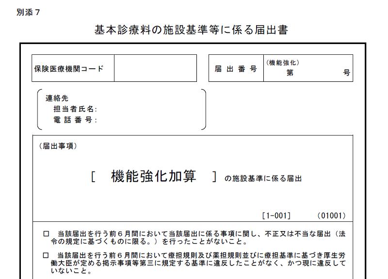 初診料に係る機能評価加算の施設基準の届出書