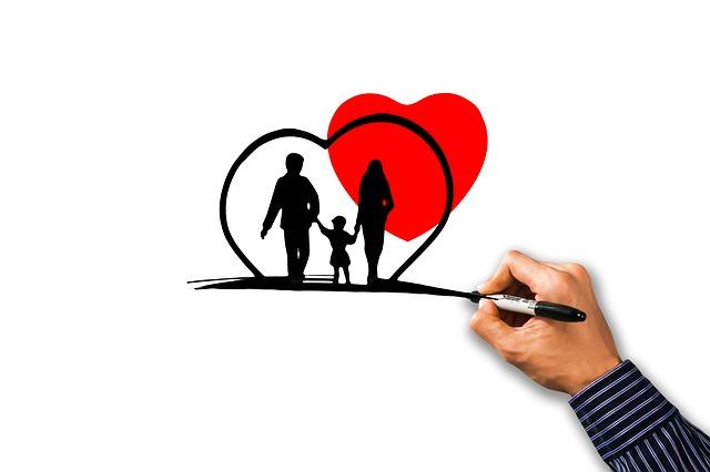家族、保険、親子、ハート