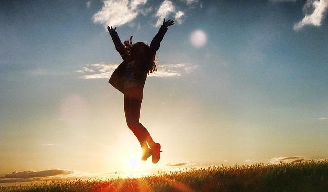 インセンティブ、モチベーション、夕日、ジャンプ、解放