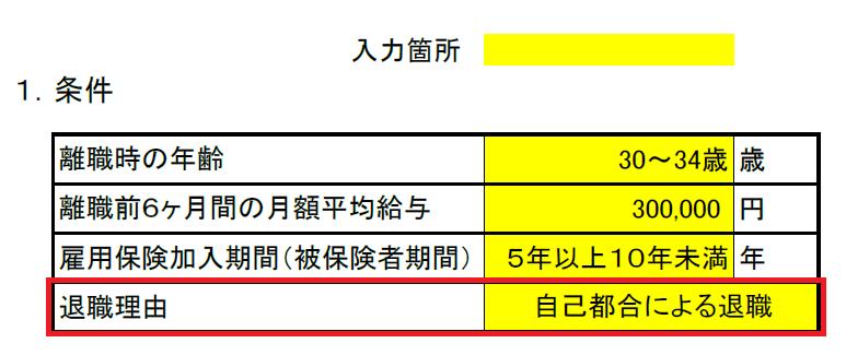 失業保険・再就職手当算出表(条件入力)4