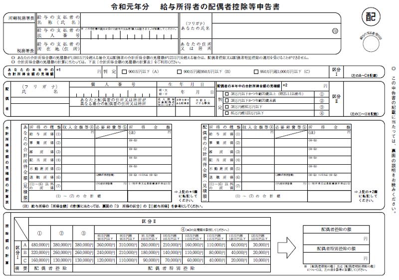給与所得者の配偶者控除等申告書(令和元年分)