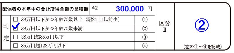 配偶者の本年中の合計所得金額