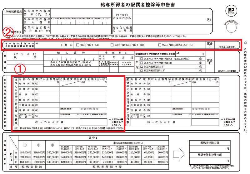 給与所得者の配偶者控除等申告書(あなたの所得)2019