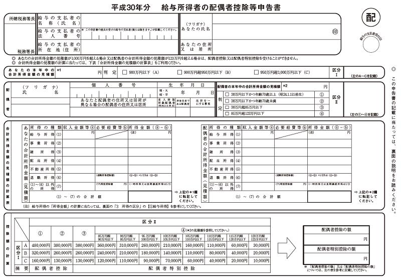 給与所得者の配偶者控除等申告書(平成30年分)