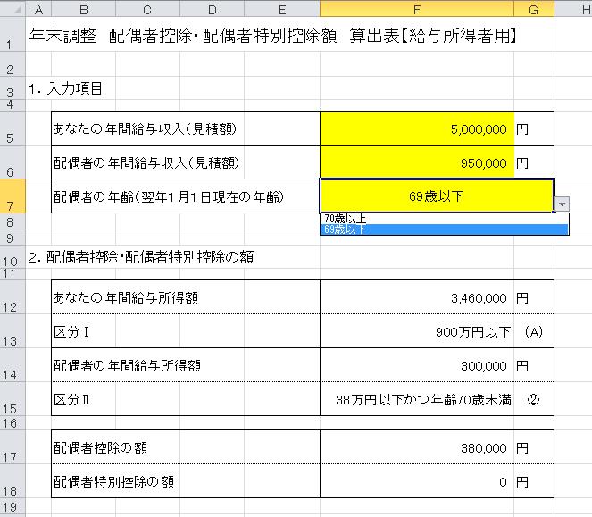 配偶者控除算出表(プルダウン説明)