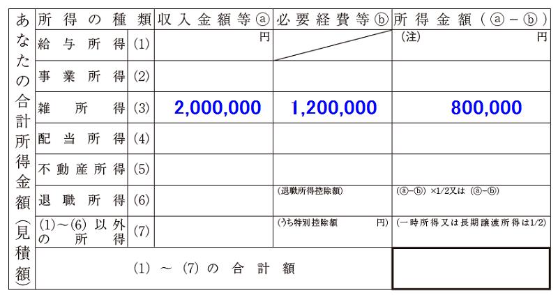 あなたの合計所得金額(配偶者控除等申告書)1