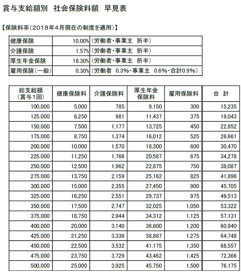 賞与支給額別 社会保険料額 早見表(100,000~500,000円)