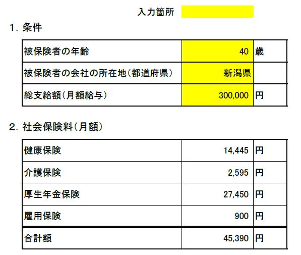 新潟県 2019月額給与にかかる「社会保険料額」算出表
