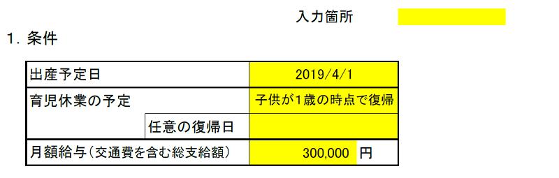 産休・育休期間および各種給付金算出表(条件)