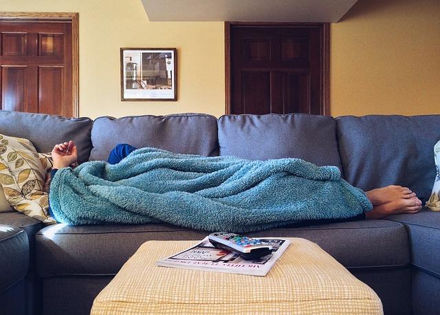 ソファー、寝ている、やりたくない