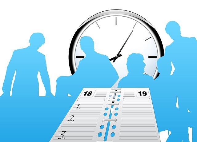 労働時間管理、時計、タイムスケジュール