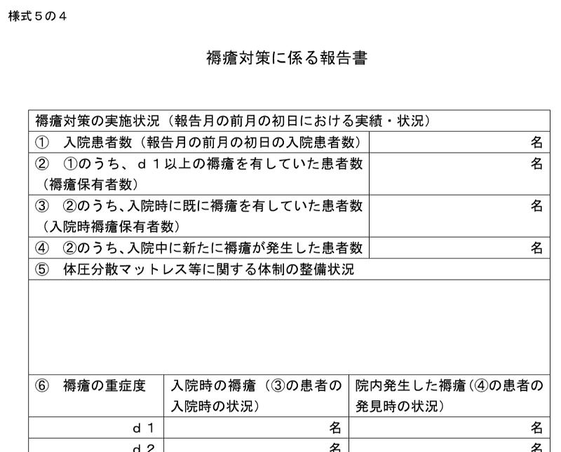 褥瘡対策に係る報告書(様式5の4)