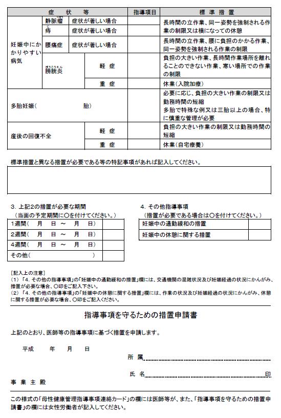 母性健康管理指導事項連絡カード(裏面)