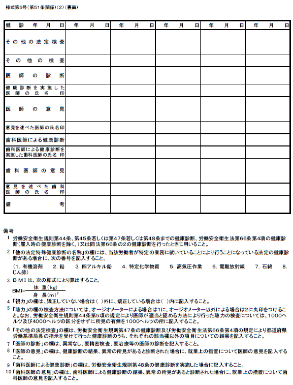 健康診断個人票(裏)