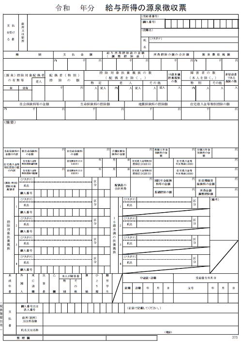 給与所得の源泉徴収票(見本)国税庁