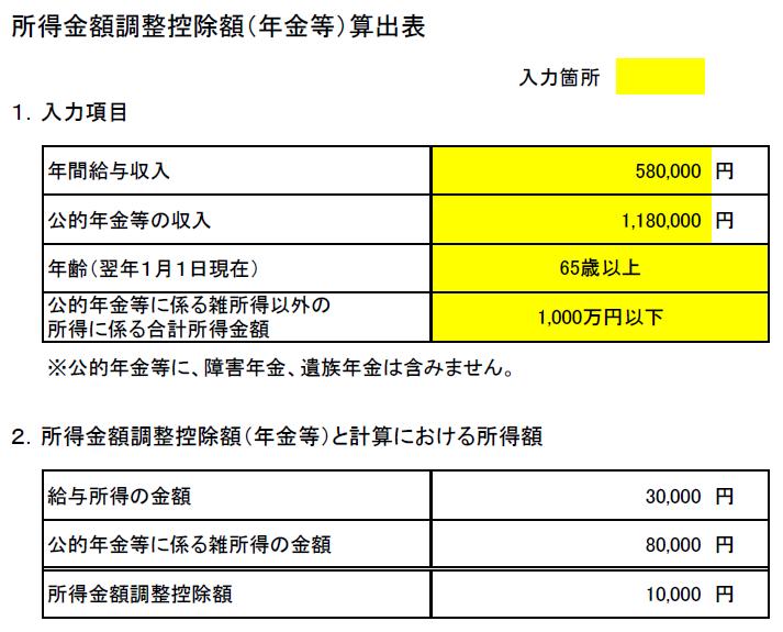 所得金額調整控除(年金等)算出表 控除1万円