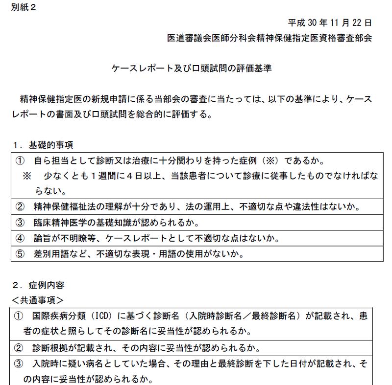ケースレポート及び口頭試問の評価基準(精神保健指定医)