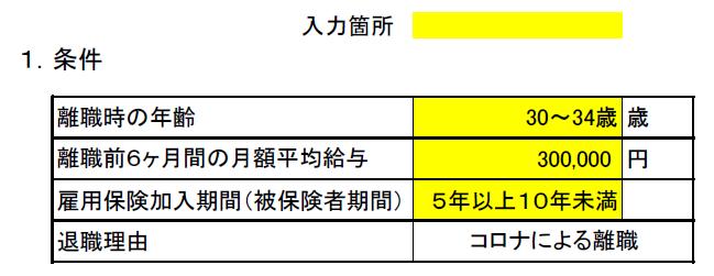 コロナ失業保険算出表(条件)